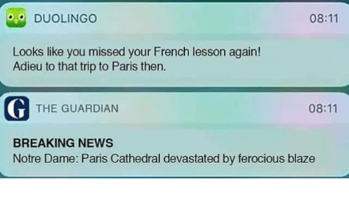 The Guardian: 08:11  DUOLINGO  Looks like you missed your French lesson again!  Adieu to that trip to Paris then  G THE GUARDIAN  08:11  BREAKING NEWS  Notre Dame: Paris Cathedral devastated by ferocious blaze