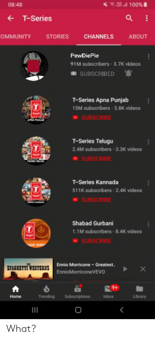 kannada: 08:48  Il 100%  T-Series  OMMUNITY STORIES CHANNELS ABOUT  PewDiePie  91M subscribers-3.7K videos  SUBSCRIBED  T-Series Apna Punjab  15M subscribers 3.8K videos  SUBSCRIBE  T-Series Telugu  2.4M subscribers 3.3K videos  SUBSCRIBE  T-Series Kannada  511K subscribers 2.4K videos  SUBSCRIBE  Shabad Gurbani  1.1M subscribers 8.4K videos  SUBSCRIBE  Ennio Morricone Greatest  Trending  nbox  Library What?