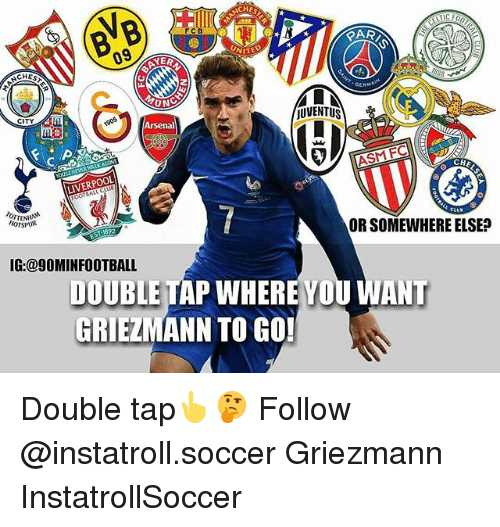 fc liverpool: 09  YER  JUVENTUS  CITY  Arsenal  ASM FC  LIVERPOOL  ORSOMEWHERE ELSE?  HOTSPUR  IG:@9OMINFOOTBALL  DOUBLETAP WHERE YOU ANT  GRIEZMANN TO GO! Double tap👆🤔 Follow @instatroll.soccer Griezmann InstatrollSoccer