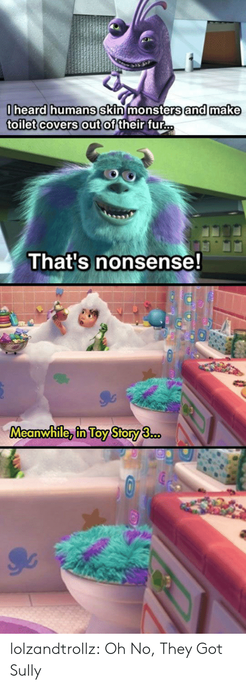 Toy Story: 0heard humans skin monsters and make  toilet covers out of their fur...  That's nonsense!  Meanwhile, in Toy Story 3.co. lolzandtrollz:  Oh No, They Got Sully