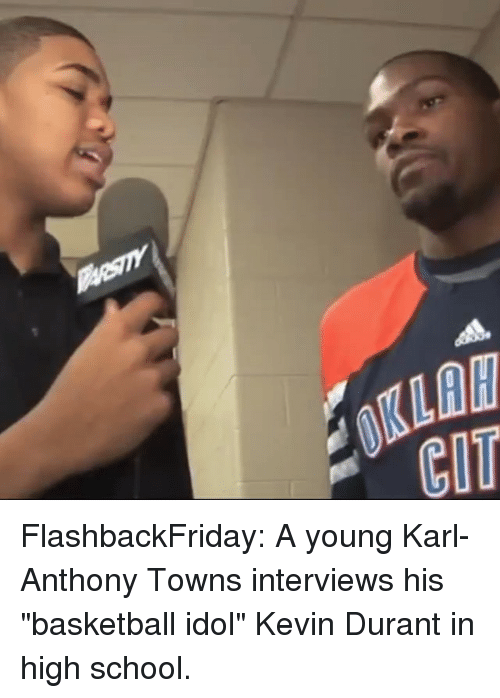 "Basketball, Kevin Durant, and Sports: 0KLAW  CIT FlashbackFriday: A young Karl-Anthony Towns interviews his ""basketball idol"" Kevin Durant in high school."