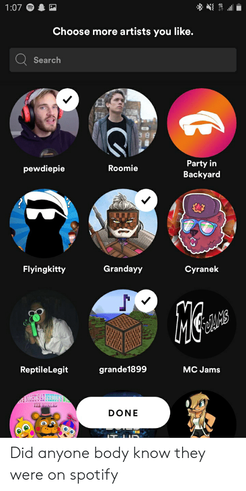 Cyranek: 1:07  Choose more artists you like.  Search  Party in  Backyard  Roomie  pewdiepie  Grandayy  Flyingkitty  Cyranek  ReptileLegit  grande1899  MC Jams  EANCHTS AL VARIOES  THE MUSICAL  DONE Did anyone body know they were on spotify
