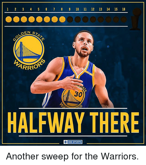 Memes, Sports, and Cbs: 1 2 3 4 5 6 7 8 9 10 11  12  13 14 15 16  GOLDEN  STAT  ARRIO  HALFWAY THERE  CBS SPORTS Another sweep for the Warriors.