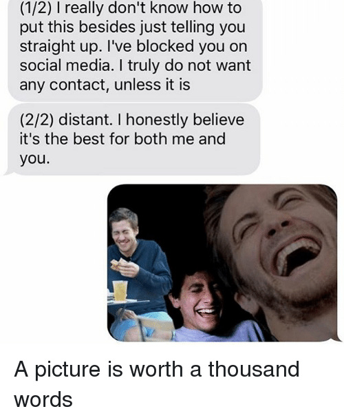 Relationships, Texting, and A Thousand Words: (1/2) l really don't know how to  put this besides just telling you  straight up. I've blocked you on  social media. I truly do not want  any contact, unless it is  (2/2) distant. honestly believe  it's the best for both me and  you A picture is worth a thousand words