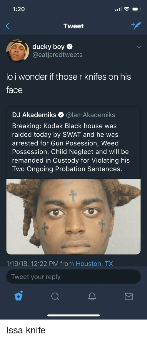 Issa Knife: 1:20  Tweet  ducky boy  @eatjaredtweets  lo i wonder if those r knifes on his  face  DJ Akademiks @lamAkademiks  Breaking: Kodak Black house was  raided today by SWAT and he was  arrested for Gun Posession, Weed  Possession, Child Neglect and will be  remanded in Custody for Violating his  Two Ongoing Probation Sentences.  1/19/18, 12:22 PM from Houston, TX  Tweet your reply