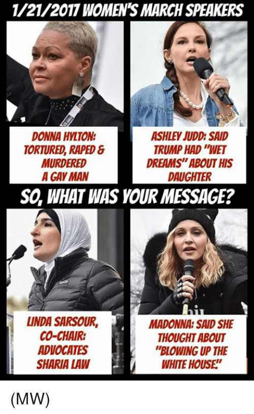 """Women March: 1/21/2017 WOMENS MARCH SPEAKERS  DONNA HYLTON  ASHLEY JUDD SAID  TRUMP HAD WET  TORTURED, RAPED  DREAMS""""ABOUT HIS  MURDERED  A GAY MAN  DAUGHTER  SO, WHAT WAS YOUR MESSAGE?  LINDA SARSOUR, MADONNA SAID SHE  CO-CHAIR:  THOUGHT ABOUT  ADVOCATES  """"BLOWING UP THE  SHARIA LAW  WHITE HOUSE (MW)"""