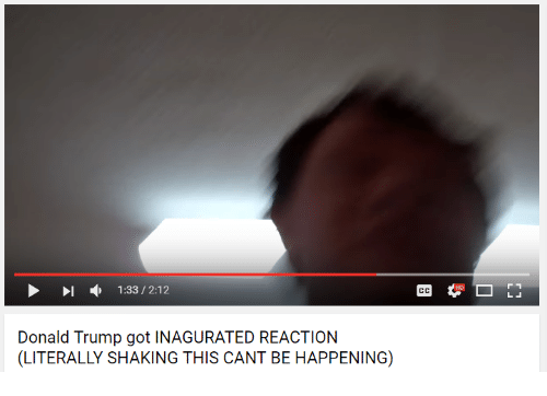 Youtube Snapshots: 1:33 2:12  Donald Trump got INAGURATED REACTION  (LITERALLY SHAKING THIS CANT BE HAPPENING)
