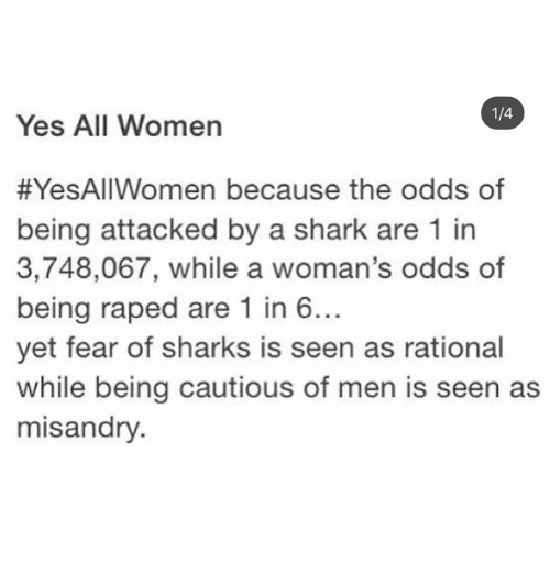 Memes, Shark, and Sharks: 1/4  Yes All Women  #YesAllWomen because the odds of  being attacked by a shark are 1 in  3,748,067, while a woman's odds of  being raped are 1 in 6..  yet fear of sharks is seen as rational  while being cautious of men is seen as  misandry.