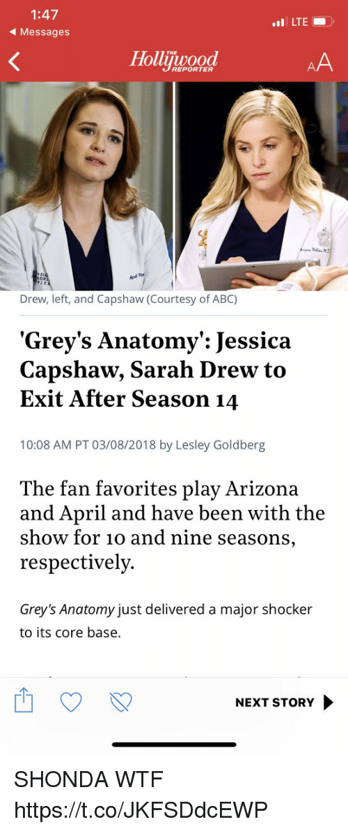respectively: 1:47  Messages  LTE  THE  Holuwood  REPORTER  Drew, left, and Capshaw (Courtesy of ABC)  Grey's Anatomy': Jessica  Capshaw, Sarah Drew to  Exit After Season 14  10:08 AM PT 03/08/2018 by Lesley Goldberg  The fan favorites play Arizona  and April and have been with the  show for 10 and nine seasons,  respectively.  Grey's Anatomy just delivered a major shocker  to its core base.  NEXT STORY SHONDA WTF https://t.co/JKFSDdcEWP
