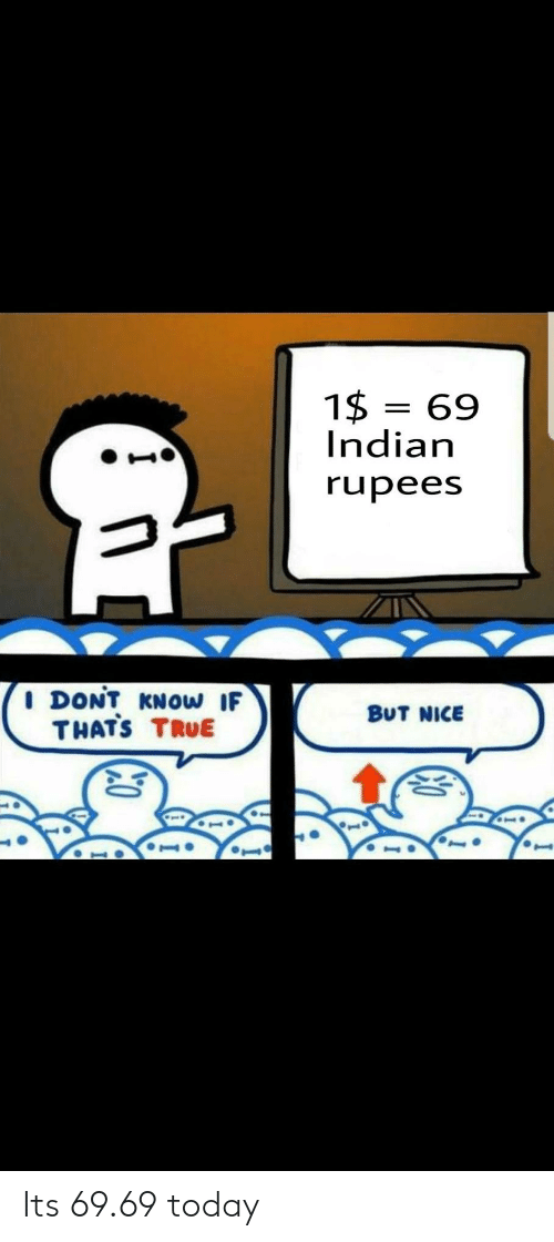 Rupees: 1$ 69  Indian  rupees  I DONT KNOw IF  THATS TRUE  BUT NICE Its 69.69 today
