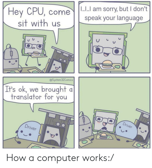 Translator: |1.... am sorry, but I don't  speak your language  Hey CPU, come  sit with us  @System32Comics  brought  It's ok, we  translator for you  Driver  Driver How a computer works:/