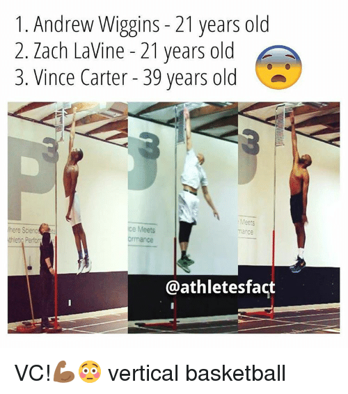 Memes, Zach LaVine, and Andrew Wiggins: 1. Andrew Wiggins 21 years old  2. Zach LaVine 21 years old  3. Vince Carter 39 years old  Meets  here Scienc  e Meets  mance  thlet Perform  @athletes fact VC!💪🏾😳 vertical basketball