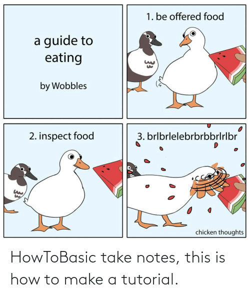 how to make: 1. be offered food  a guide to  eating  by Wobbles  3. brlbrlelebrbrbbrlrlbr  2. inspect food  chicken thoughts  33 HowToBasic take notes, this is how to make a tutorial.