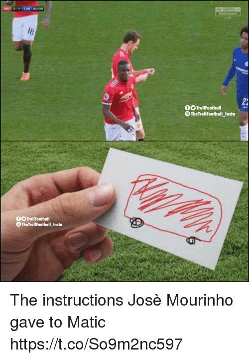 Memes, José Mourinho, and 🤖: -1 CHE 80 09  24  TrollFootball  TheTrollFootball_Instoa  TrollFootball  TheTrollFootball_Insta The instructions Josè Mourinho gave to Matic https://t.co/So9m2nc597