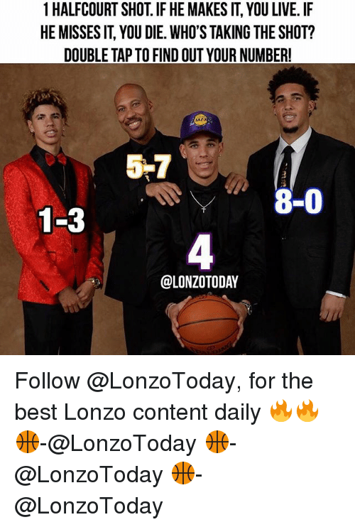taz: 1 HALFCOURT SHOT. IF HE MAKES IT, YOU LIVE. IF  HE MISSES IT, YOU DIE. WHO'S TAKING THE SHOT?  DOUBLE TAP TO FIND OUT YOUR NUMBER!  tAZ  覗7  8-0  1-3  4  @LONZOTODAY Follow @LonzoToday, for the best Lonzo content daily 🔥🔥 🏀-@LonzoToday 🏀-@LonzoToday 🏀-@LonzoToday