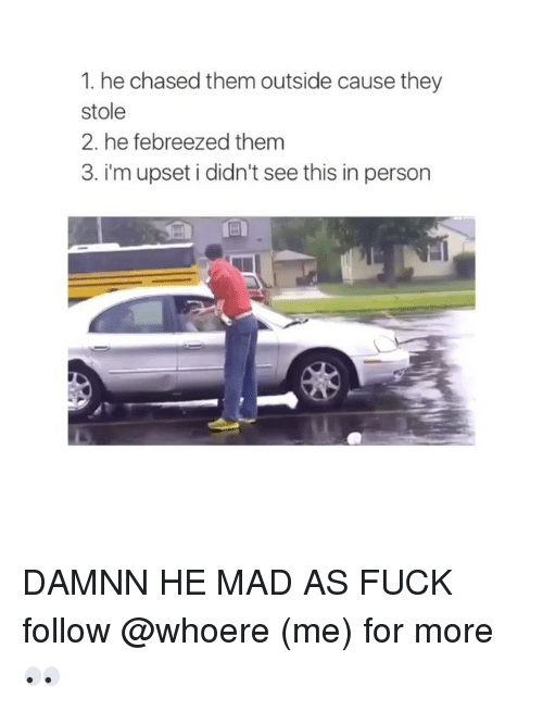 Girl Memes: 1. he chased them outside cause they  stole  2. he febreezed them  3. i'm upset i didn't see this in person DAMNN HE MAD AS FUCK follow @whoere (me) for more 👀