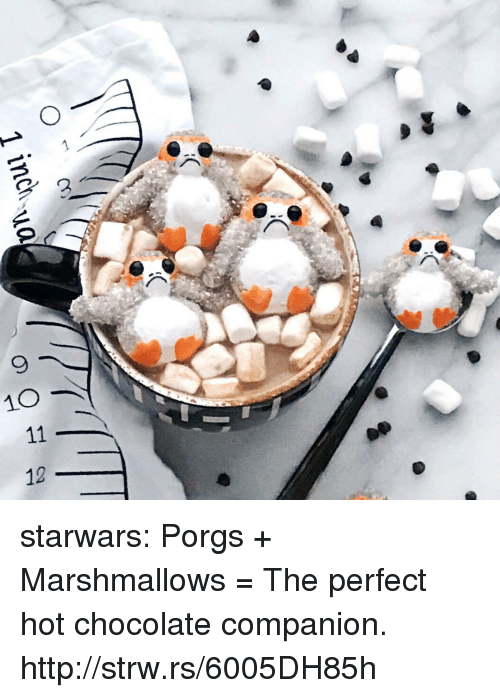 starwars: 1 inch  90 11 12 starwars:  Porgs + Marshmallows = The perfect hot chocolate companion. http://strw.rs/6005DH85h