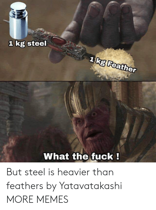 Feathers: 1 kg steel  1 IKE Feather  What the fuck! But steel is heavier than feathers by Yatavatakashi MORE MEMES