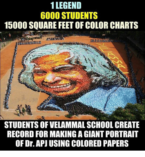 Memes, School, and Giant: 1 LEGEND  6000 STUDENTS  15000 SQUARE FEET OF COLOR CHARTS  STUDENTS OF VELAMMAL SCHOOL CREATE  RECORD FOR MAKING A GIANT PORTRAIT  OF Dr. APJI USING COLORED PAPERS