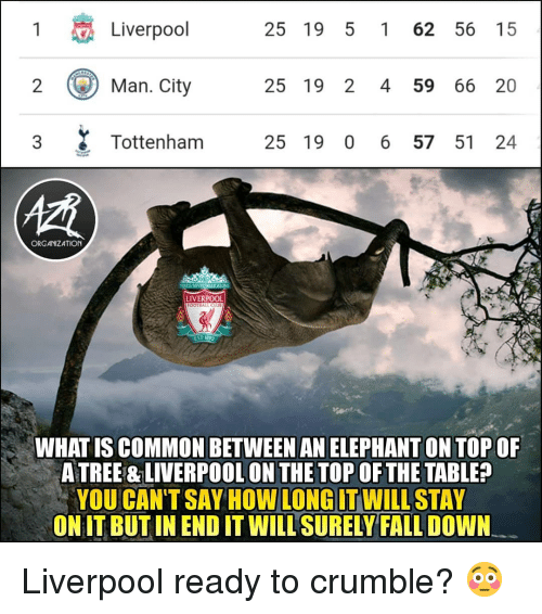 fall down: 1  Liverpool  25 19 5 1 62 56 15  ) Man.City  25 19 2 4 59 66 20  3 Tottenham 25 19 0 6 57 51 24  慣  ORGANIZATION  LIVERPOOL  FOOTBALL CLU  EST 1822  WHAT IS COMMON BETWEEN AN ELEPHANT ON TOP OF  A TREE & LIVERPOOL ON THE TOP OF THE TABLE?  YOU CAN'TSAY HOW WILLSTAY  ONIT BUT IN END IT WILL SURELY FALL DOWN  LONG IT Liverpool ready to crumble? 😳
