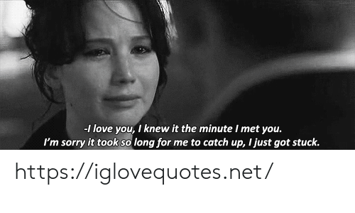 catch up: -1 love you, I knew it the minute I met you.  I'm sorry it took so long for me to catch up, I just got stuck. https://iglovequotes.net/