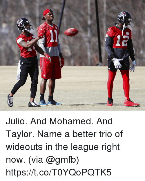 Memes, The League, and 🤖: 1 mil Julio. And Mohamed. And Taylor.  Name a better trio of wideouts in the league right now. (via @gmfb) https://t.co/T0YQoPQTK5