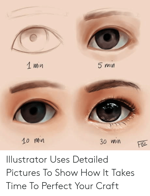 illustrator: 1 min  5 min  10 Mn  30 min Illustrator Uses Detailed Pictures To Show How It Takes Time To Perfect Your Craft