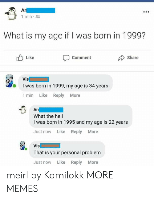 vis: 1 min  What is my age if I was born in 1999?  Like  Comment  Share  I was born in 1999, my age is 34 years  1 min Like Reply More  An  What the hell  I was born in 1995 and my age is 22 years  Just now Like Reply More  Vis  That is your personal problem  Just now Like Reply More meirl by Kamilokk MORE MEMES