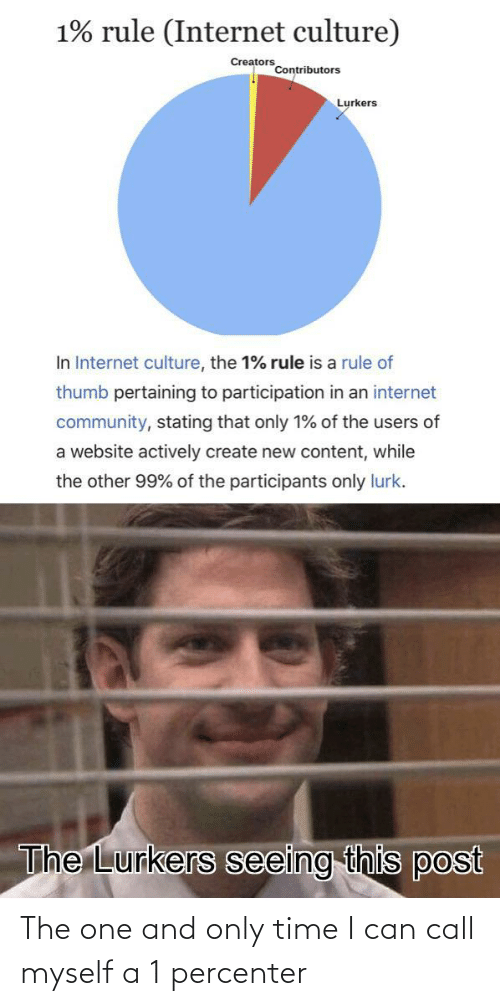 thumb: 1% rule (Internet culture)  Creators  Contributors  Lurkers  In Internet culture, the 1% rule is a rule of  thumb pertaining to participation in an internet  community, stating that only 1% of the users of  a website actively create new content, while  the other 99% of the participants only lurk.  The Lurkers seeing this post The one and only time I can call myself a 1 percenter