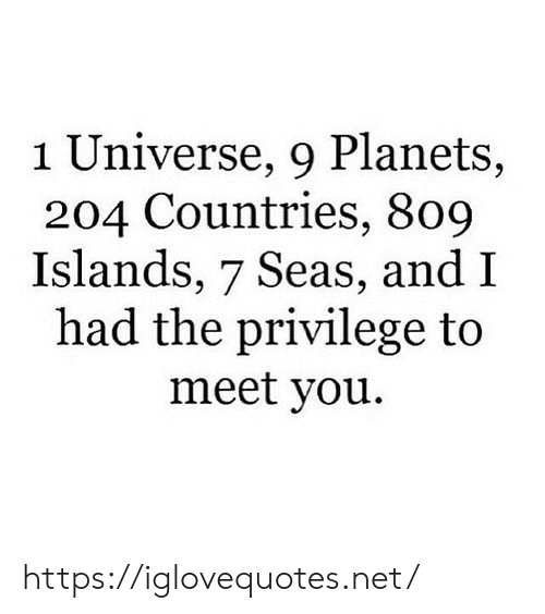 privilege: 1 Universe, 9 Planets,  204 Countries, 809  Islands, 7 Seas, and I  had the privilege to  meet you https://iglovequotes.net/
