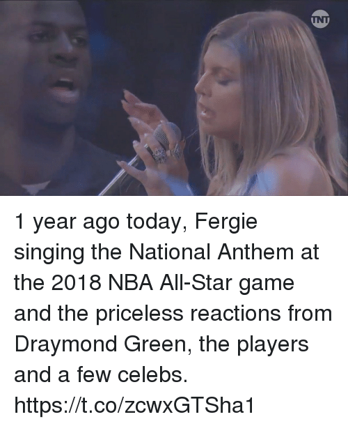 National Anthem: 1 year ago today, Fergie singing the National Anthem at the 2018 NBA All-Star game and the priceless reactions from Draymond Green, the players and a few celebs. https://t.co/zcwxGTSha1