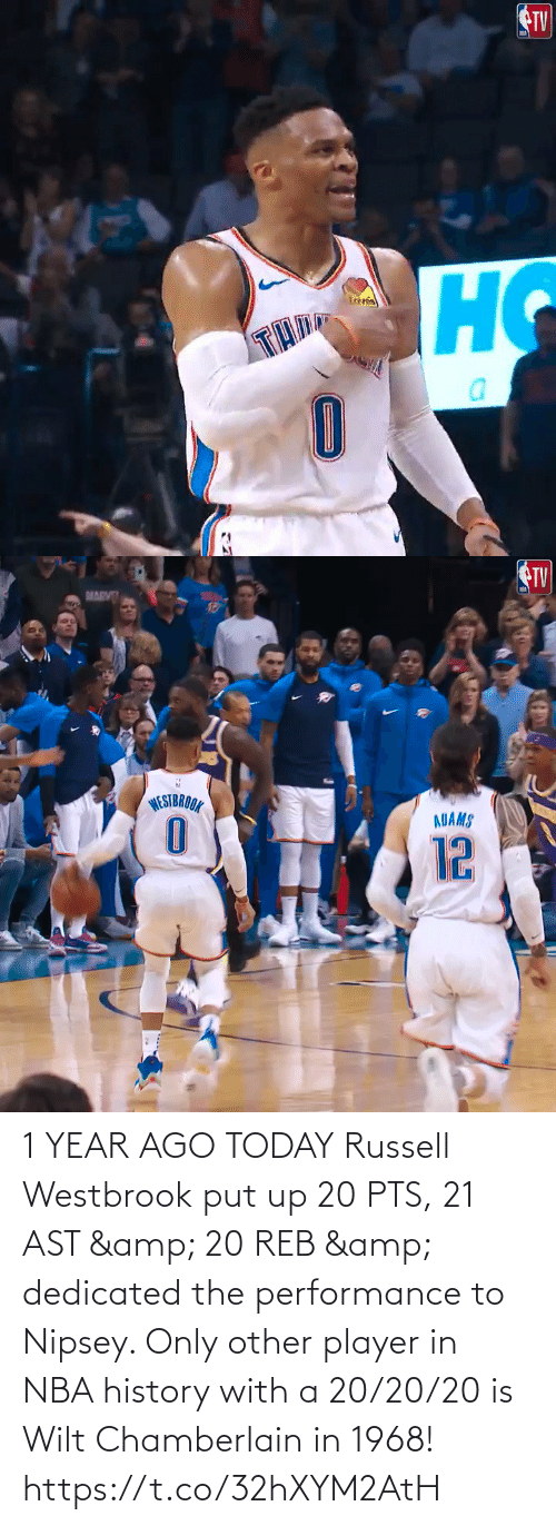 westbrook: 1 YEAR AGO TODAY Russell Westbrook put up 20 PTS, 21 AST & 20 REB & dedicated the performance to Nipsey.   Only other player in NBA history with a 20/20/20 is Wilt Chamberlain in 1968!    https://t.co/32hXYM2AtH