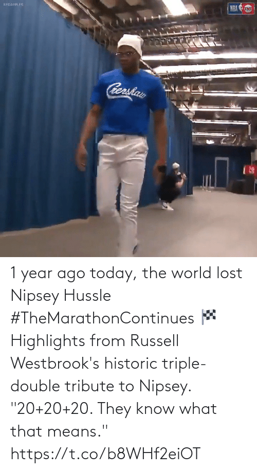 "triple double: 1 year ago today, the world lost Nipsey Hussle #TheMarathonContinues 🏁  Highlights from Russell Westbrook's historic triple-double tribute to Nipsey.   ""20+20+20. They know what that means."" https://t.co/b8WHf2eiOT"