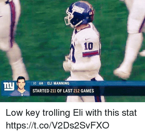 Eli Manning: 10  10 OB ELI MANNING  STARTED 211 OF LAST 212 GAMES Low key trolling Eli with this stat https://t.co/V2Ds2SvFXO