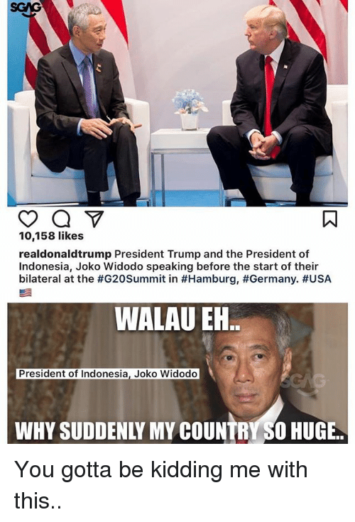 you gotta be kidding me: 10,158 likes  realdonaldtrump President Trump and the President of  Indonesia, Joko Widodo speaking before the start of their  bilateral at the #G20Summit in #Hamburg, #Germany·#USA  WALAU EN  President of Indonesia, Joko Widodo  WHY SUDDENLY MY COUNTRY SO HUGE. You gotta be kidding me with this..