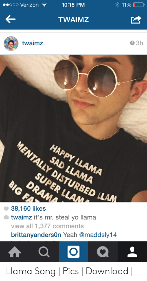 Twaimz: 10:18 PM  ooo Verizon  TWAIMZ  9 3h  twaimz  HAPPY LLAMA  MENT SAD LLAMA  ALLY DISTURBED LLAM  SUPER LLAM  38,160 likes  view all 1,377 comments  brittanyandersOn Yeah @maddsly14  twaimz it's mr. steal yo llama Llama Song | Pics | Download |