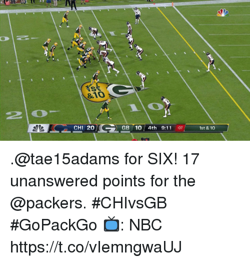 9/11, Memes, and Packers: &10  20  CHI 20  GB 10 4th 9:11 :07  1st & 10 .@tae15adams for SIX!  17 unanswered points for the @packers. #CHIvsGB #GoPackGo  📺: NBC https://t.co/vIemngwaUJ
