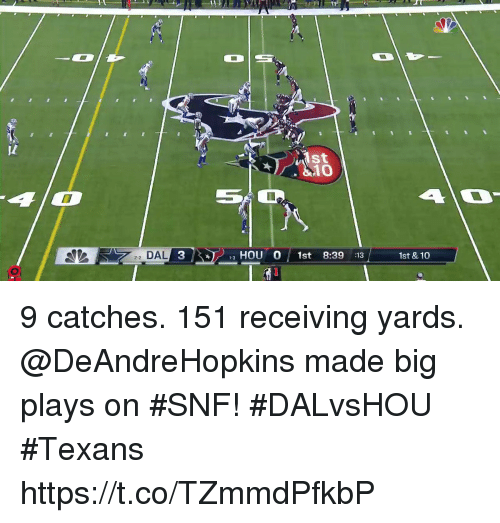Memes, Texans, and 🤖: 10  22 DAL 3  HOU O 1st 8:39 :13  1st &10 9 catches. 151 receiving yards.  @DeAndreHopkins made big plays on #SNF! #DALvsHOU #Texans https://t.co/TZmmdPfkbP