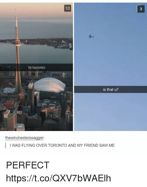 Saw, Toronto, and Friend: 10  3  hi toronto  is that u?  thewinchesterswagger:  IWAS FLYING OVER TORONTO AND MY FRIEND SAW ME PERFECT https://t.co/QXV7bWAElh