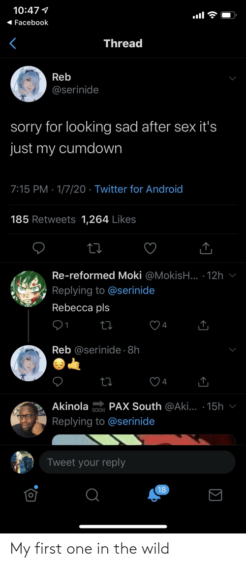 aki: 10:47 1  Facebook  Thread  Reb  @serinide  sorry for looking sad after sex it's  just my cumdown  7:15 PM · 1/7/20 · Twitter for Android  185 Retweets 1,264 Likes  Re-reformed Moki @MokisH... · 12h  Replying to @serinide  Rebecca pls  4  Reb @serinide · 8h  4  PAX South @Aki... · 15h v  Akinola  SOON  Replying to @serinide  Tweet your reply  18  Σ  <] My first one in the wild