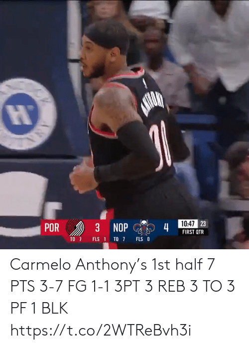 Anthony: 10:47 23  POR  3 NOP  4  FIRST QTR  TO 7  FLS O  FLS 1 TO 7  ANA Carmelo Anthony's 1st half   7 PTS 3-7 FG 1-1 3PT 3 REB 3 TO 3 PF  1 BLK    https://t.co/2WTReBvh3i