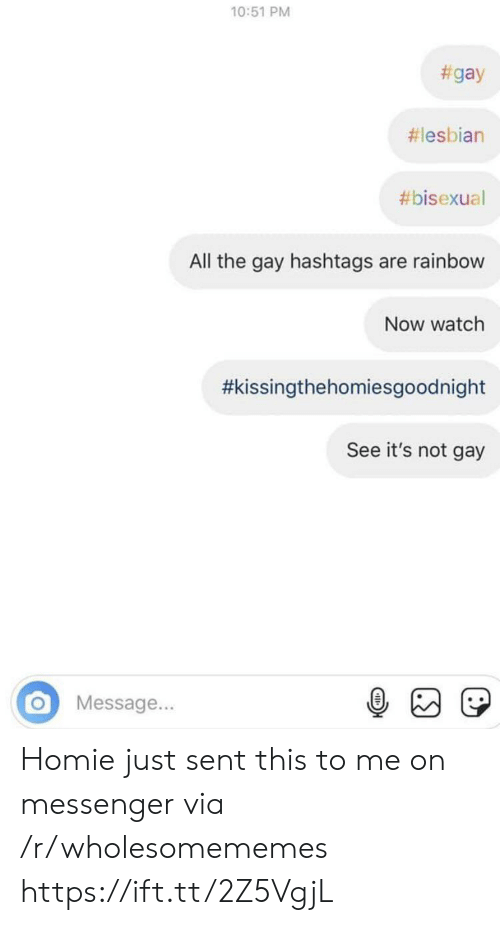 Bisexual: 10:51 PM  #gay  #lesbian  #bisexual  All the gay hashtags are rainbow  Now watch  #kissingthehomiesgoodnight  See it's not gay  Message... Homie just sent this to me on messenger via /r/wholesomememes https://ift.tt/2Z5VgjL