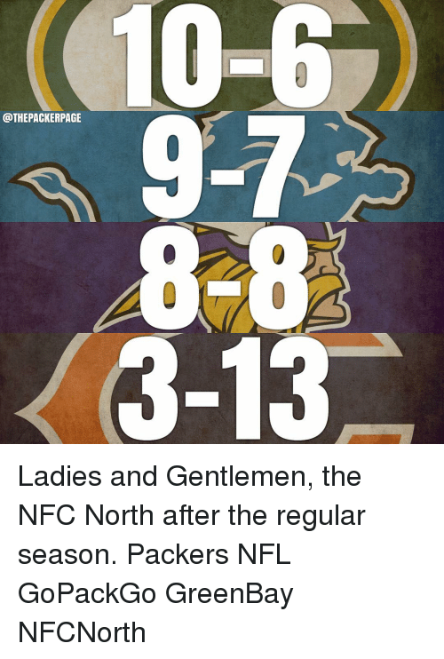 Greenbay: 10-6  THEPACKERPAGE  3-13 Ladies and Gentlemen, the NFC North after the regular season. Packers NFL GoPackGo GreenBay NFCNorth