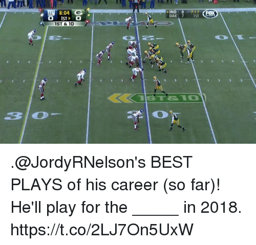 Memes, Best, and Hell: 10  8:04 G  IND0 7:17  OAK 7 s  ST  ST & 10 .@JordyRNelson's BEST PLAYS of his career (so far)!  He'll play for the _____ in 2018. https://t.co/2LJ7On5UxW