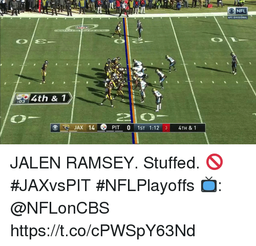 Memes, 🤖, and Jax: 10  AFC DIVISIONAL  4th & 1  :03  JAX 14  PIT 01ST 1:12 3 4TH & 1 JALEN RAMSEY.  Stuffed. 🚫 #JAXvsPIT #NFLPlayoffs   📺: @NFLonCBS https://t.co/cPWSpY63Nd