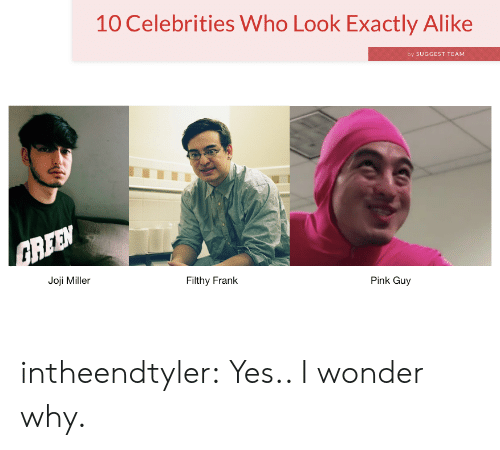 Filthy Frank: 10 Celebrities Who Look Exactly Alike  by SUGGEST TEAM  Joji Miller  Filthy Frank  Pink Guy intheendtyler:  Yes.. I wonder why.
