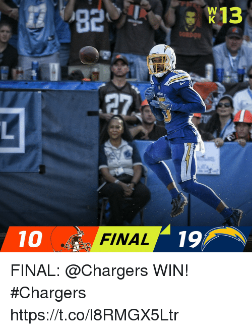 Memes, Chargers, and 🤖: 10  FINAL  19 FINAL: @Chargers WIN! #Chargers https://t.co/l8RMGX5Ltr