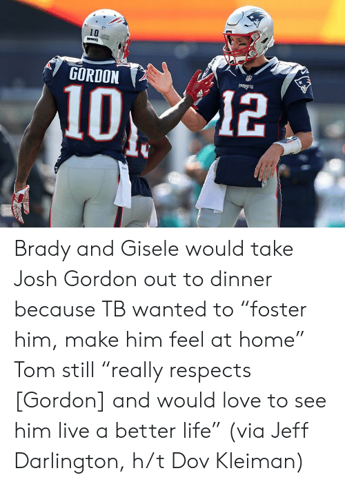 "better life: 10  GORDON  PATRIOTS  12 Brady and Gisele would take Josh Gordon out to dinner because TB wanted to ""foster him, make him feel at home""  Tom still ""really respects [Gordon] and would love to see him live a better life""  (via Jeff Darlington, h/t Dov Kleiman)"