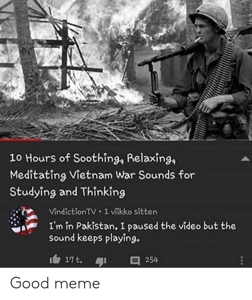 Good Meme: 10 Hours of Soothing, Relaxing,  Meditating Vietnam War Sounds for  Studying and Thinking  Vindiction TV 1 vitkko sitten  I'm in Pakistan, I paused the video but the  sound keeps playing.  17t.  254 Good meme