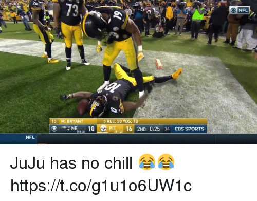 Chill, Nfl, and No Chill: 10 M. BRYANT  3 REC, 53 YDS, TD  Pl  NFL JuJu has no chill 😂😂 https://t.co/g1u1o6UW1c